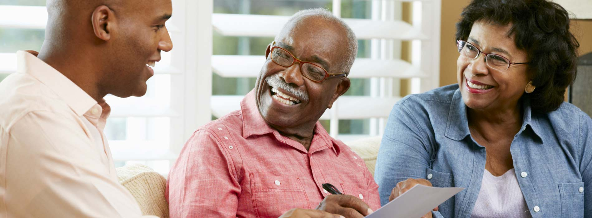 Financial planning discussion with old couple